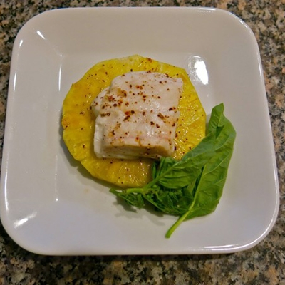 Pineapple Plank Grilled Halibut
