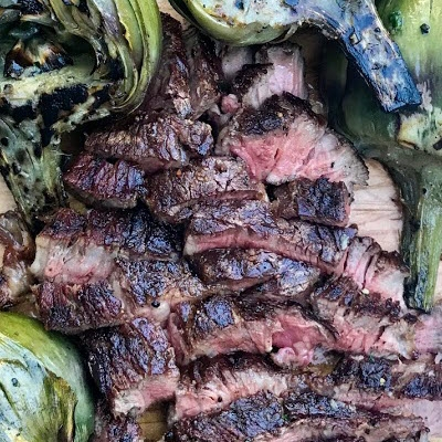 Ribeye Caps and Grilled Artichokes