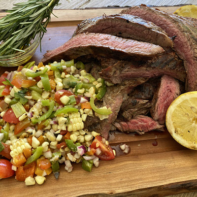 Cowboy Flank Steak with Roasted Corn Salad